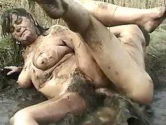 Nasty lewd BBW fucked by guy in bog