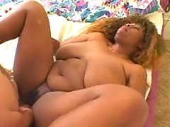 Fat busty ebony in orgy