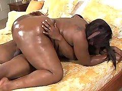 Chubby ebony gets cum on huge ass