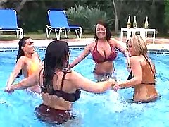 Hot busty plumpers have fun in pool