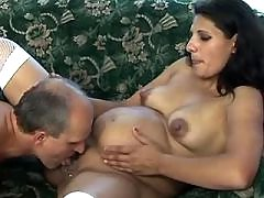 Pregnant mature sucks and licked