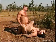 Farmer fucks mud covered chubby