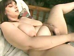 Busty fat slut dildoing