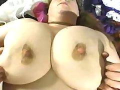 Fatty with big tits milking herself